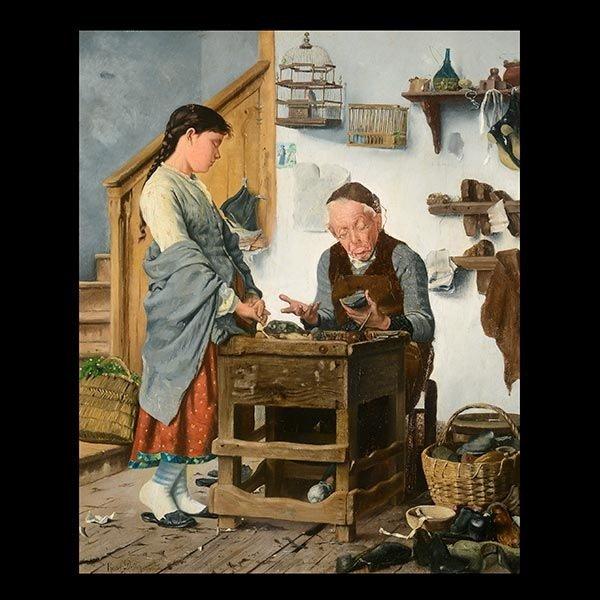 """Raoul Dutton """"Cobbler, 1883"""" Oil"""