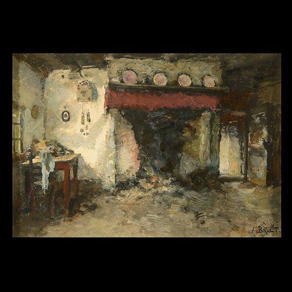 ARTHUR BRIET  Interior Scene Oil