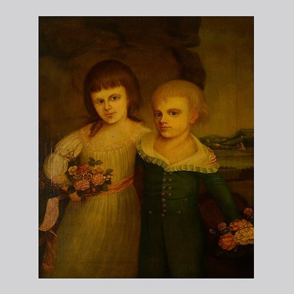 """French School  """"Portrait of a Young Boy & Girl"""""""