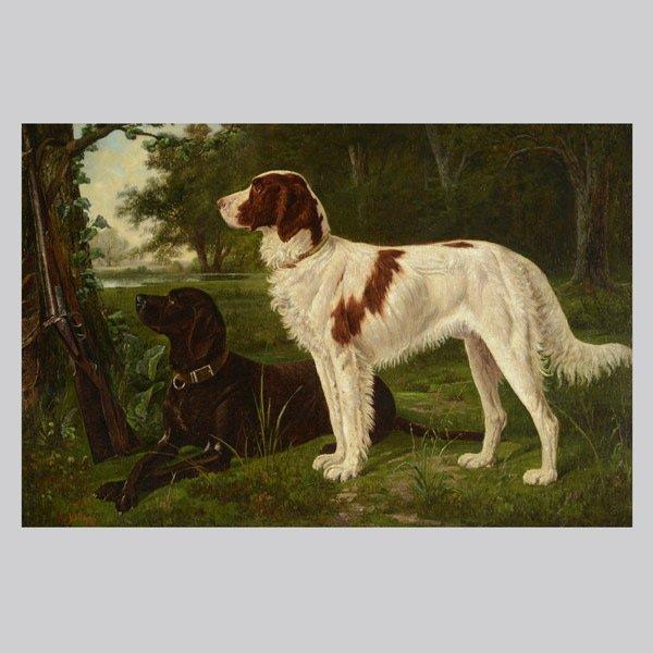 "N. Lindsay  ""Hunting Dogs"" Oil"