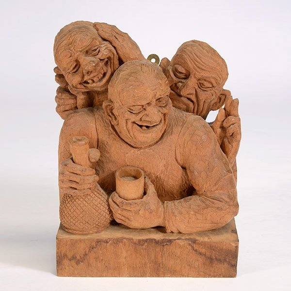 """EMIL JANEL  """"The Drinker""""  Woodcarving"""