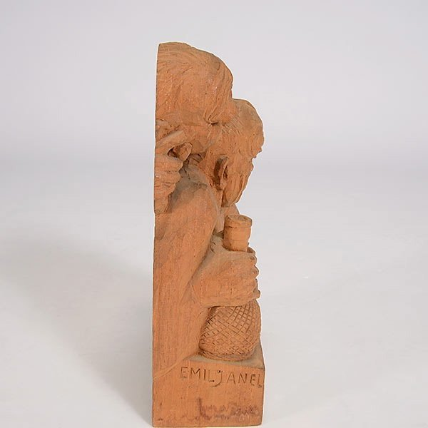 """EMIL JANEL  """"The Drinker""""  Woodcarving - 4"""