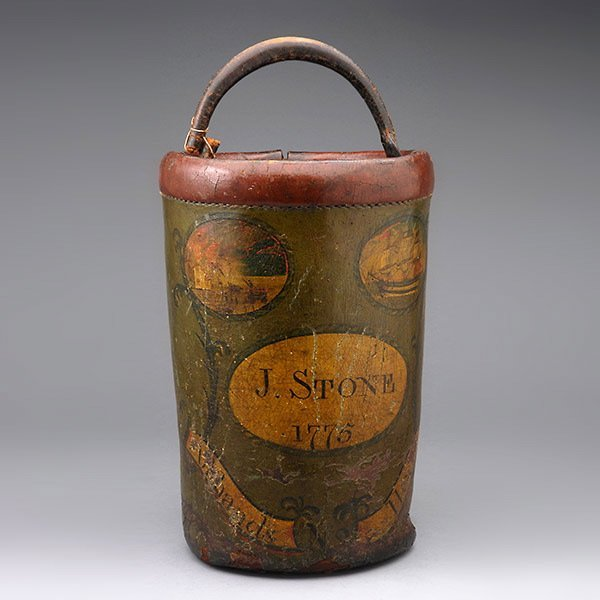 Early American Painted Leather Fire Bucket