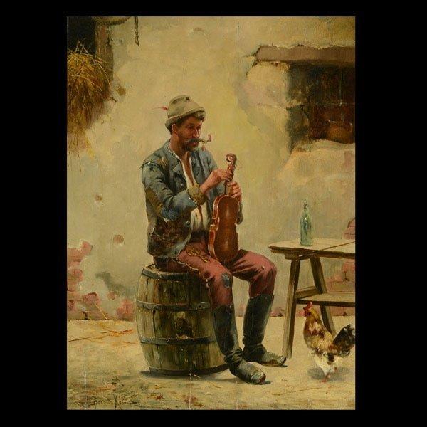 """Kalman Borsodi """"Violin Stringer"""" Oil"""