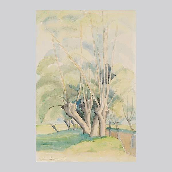 "PAUL EMILE PISSARRO ""Arbres, 1926""  Watercolor"