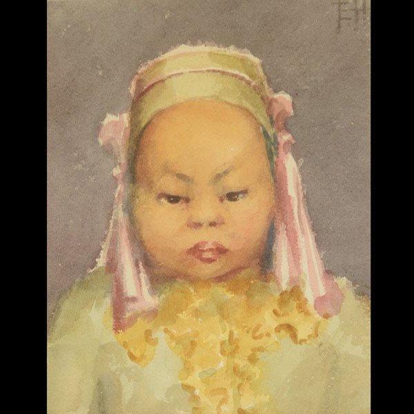 """ESTHER HUNT """"Young Asian Girl"""" Watercolor"""