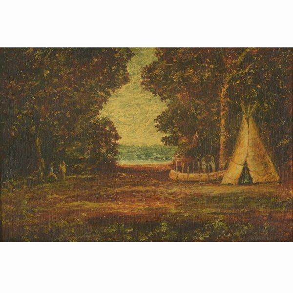 "RALPH ALBERT BLAKELOCK  ""Building a Canoe"" Oil"