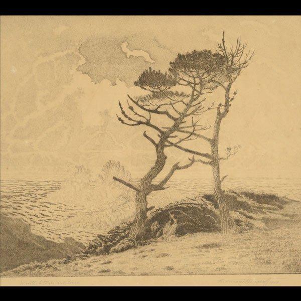 "FERDINAND BURGDORFF  ""Winter Storm & Pines"""