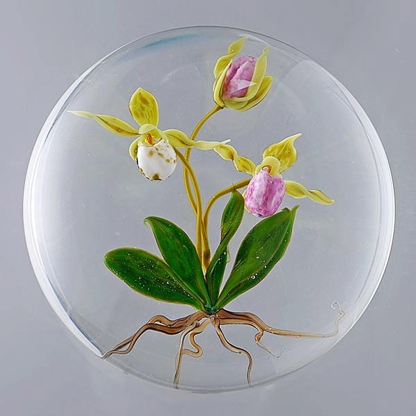 Paul Stankard Orchid Paperweight