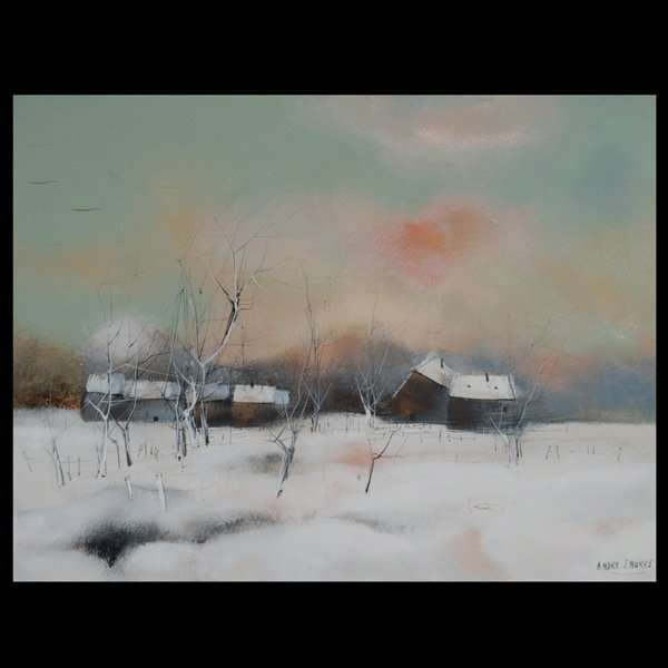 "Andre Ingres ""Snow Covered Farm"" Mixed Media"
