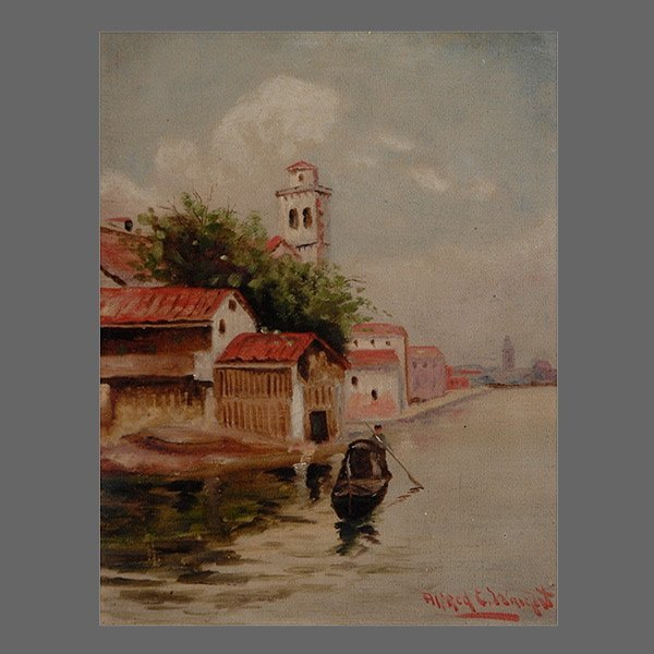 "Alfred G Wright ""Gondolier"" Oil"