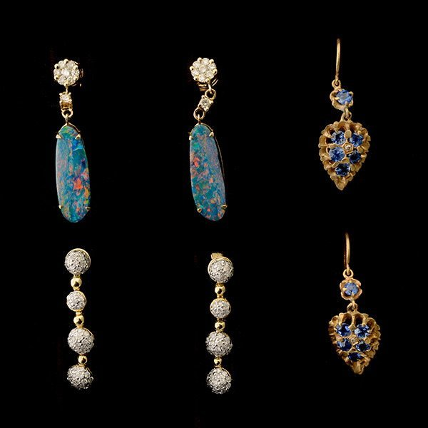 3 PAIRS OF OPAL, DIAMOND, SAPPHIRE, GOLD EARRINGS.