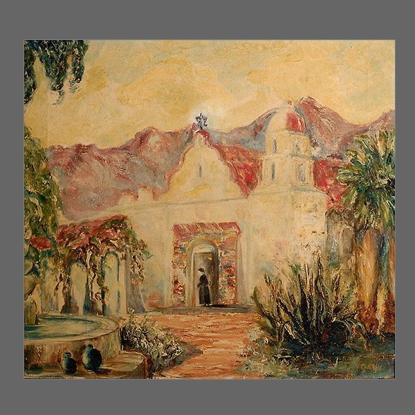 "August Gay, ""Mission San Luis Rey"", o/c"