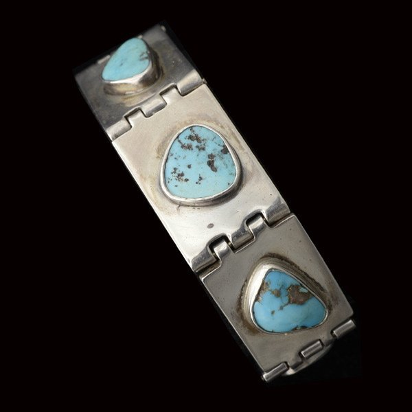 Modernist Sterling and Turquoise Bracelet.