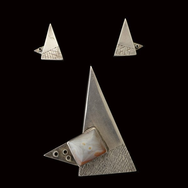 Modernist Silver Pin and Earring Suite.