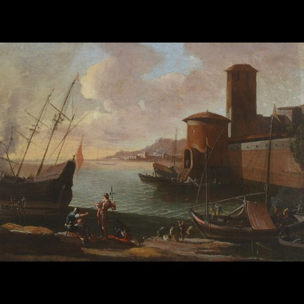 "Style of CLAUDE LORRAIN ""Italian Port"" Oil"
