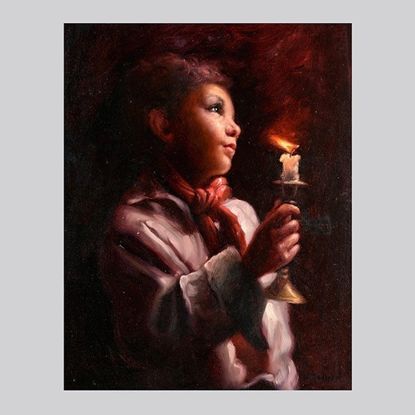 "NELLO JOVINE ""Boy with Candle"" Oil on canvas."