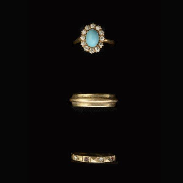 TURQUOISE, RUBY, DIAMOND, 14K YELLOW GOLD RINGS.