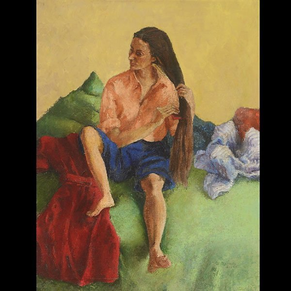 RAPHAEL SOYER  Woman Combing her Hair