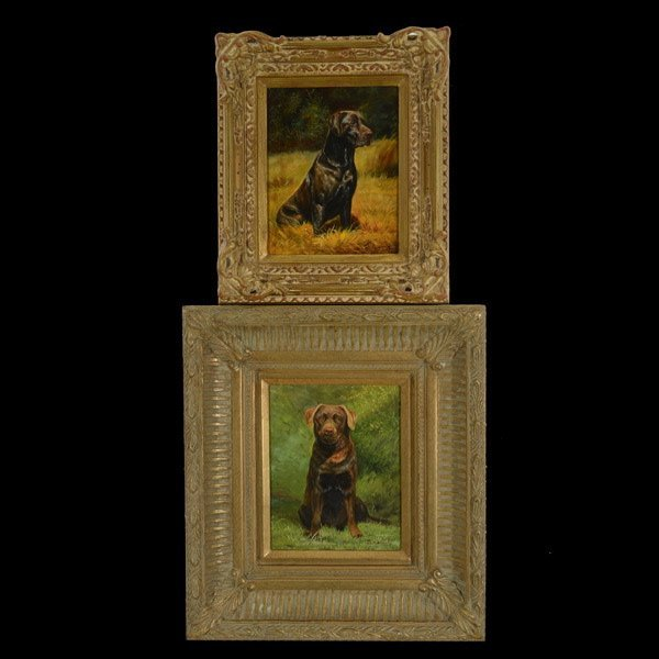 """L. CASSIDY Two works: """"Labrador Rottweiler Mix"""""""
