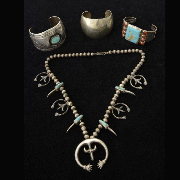 FOUR TURQUOISE, CORAL, SILVER JEWELRY ITEMS.
