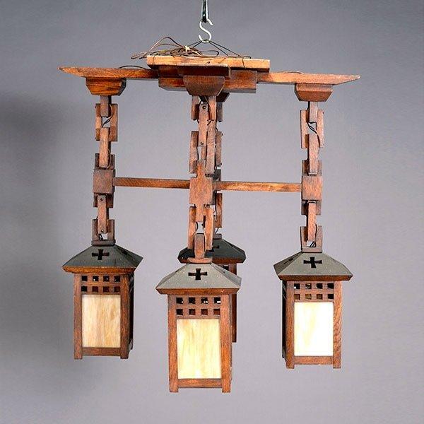 Arts & Crafts Wooden Chandelier