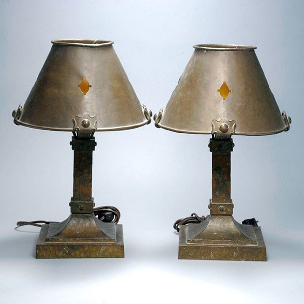 Two Iron Lamps with Shades