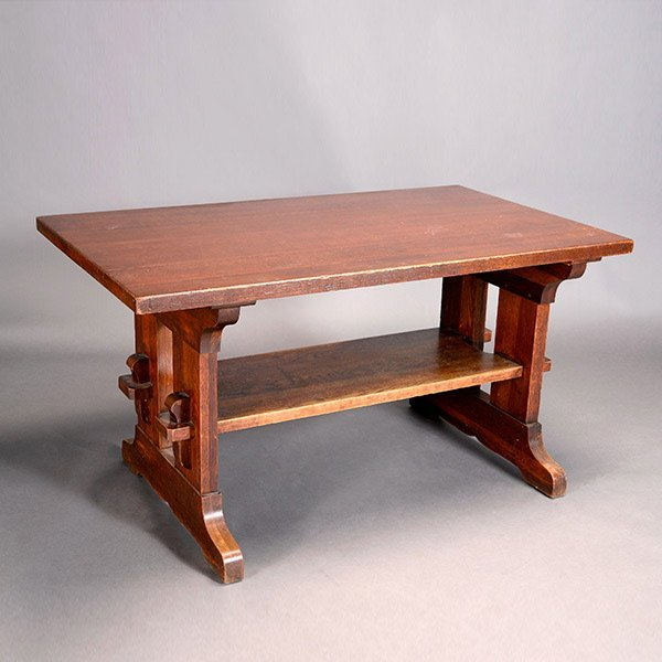 Unmarked Trestle Library Table