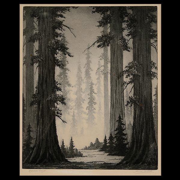 "Harold Doolittle ""Redwood Giants"" Aquatint"