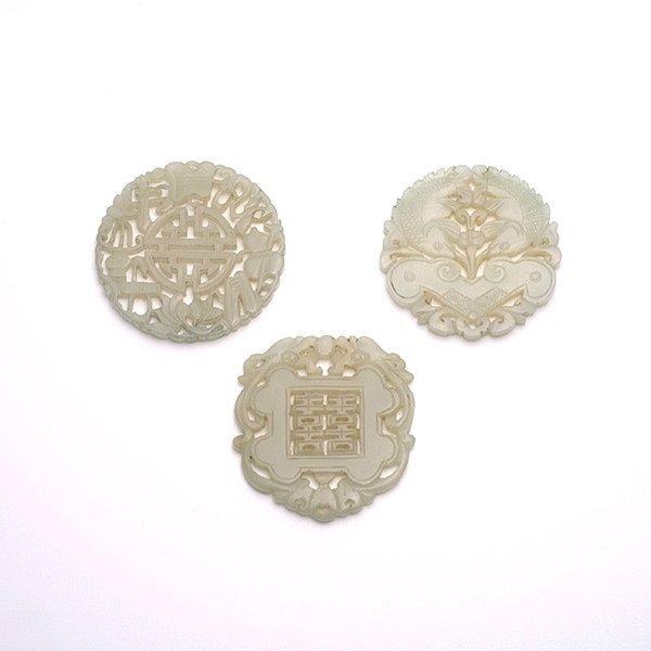Three Reticulated Jade Pendants, Qing Dynasty