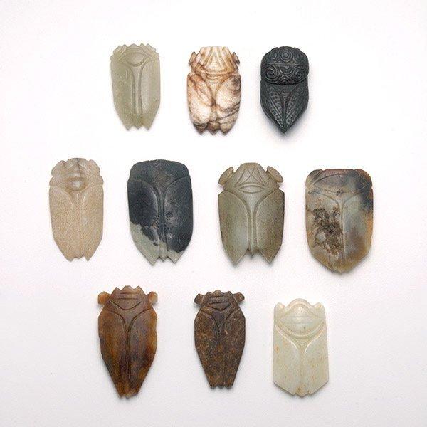 Ten Jade and Hardstone Cicada-Form Pendants