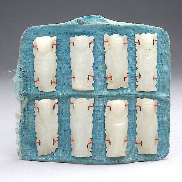 8 White Jade Carvings of Immortals, Qing Dynasty