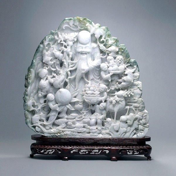 A Large Jadeite Boulder Carving, 20th Century