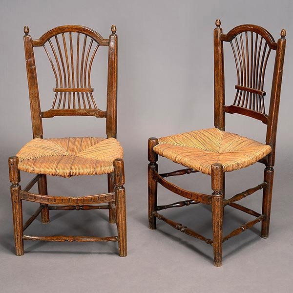 Pair Provincial Rush Seat Spindle Back Chairs