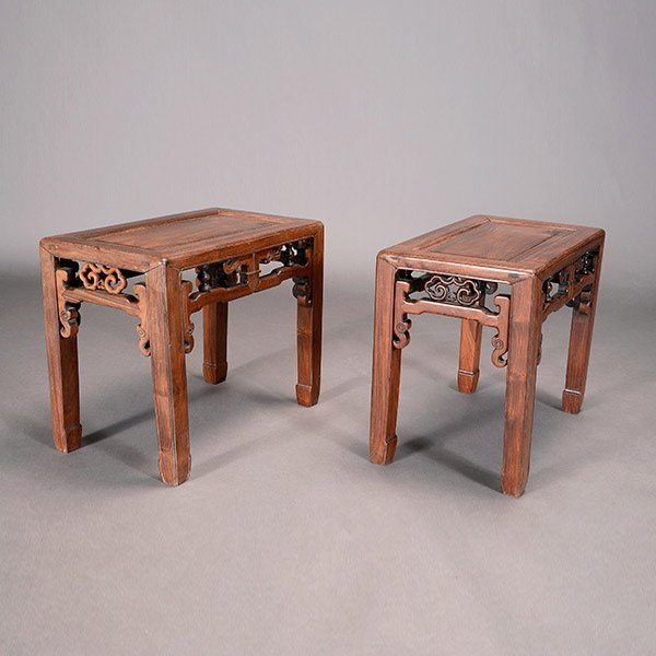 2 Chinese Rosewood Side Tables in the Ming Style