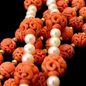 TWO CORAL BEAD CULTURED PEARL 14K GOLD NECKLACES