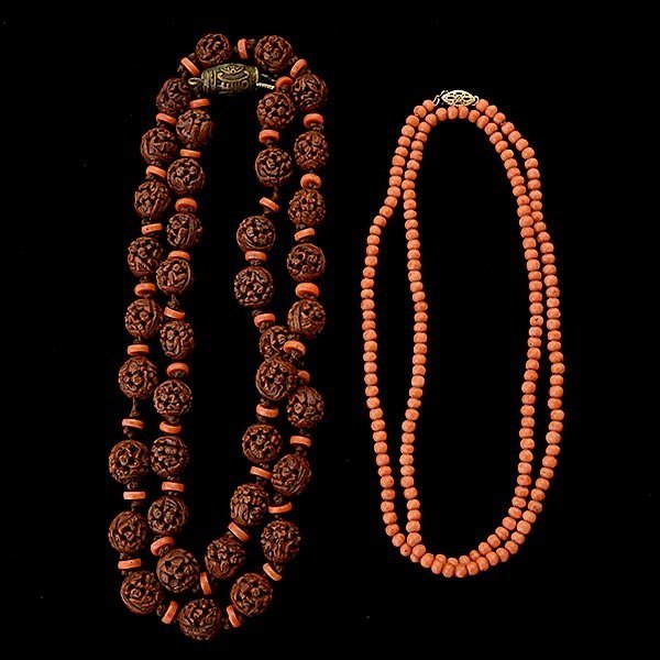 CORAL BEAD, CARVED SEED, 14K GOLD, METAL NECKLACES. - 4