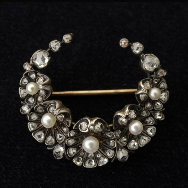 DIAMOND, PEARL, SILVER TOPPED, 14K GOLD BROOCH.