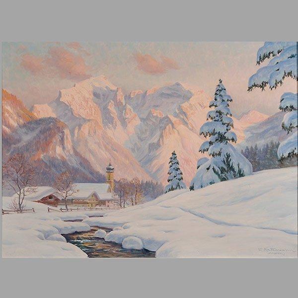 """ERWIN KETTEMANN  """"Winterabend in Bischofswiesen"""""""