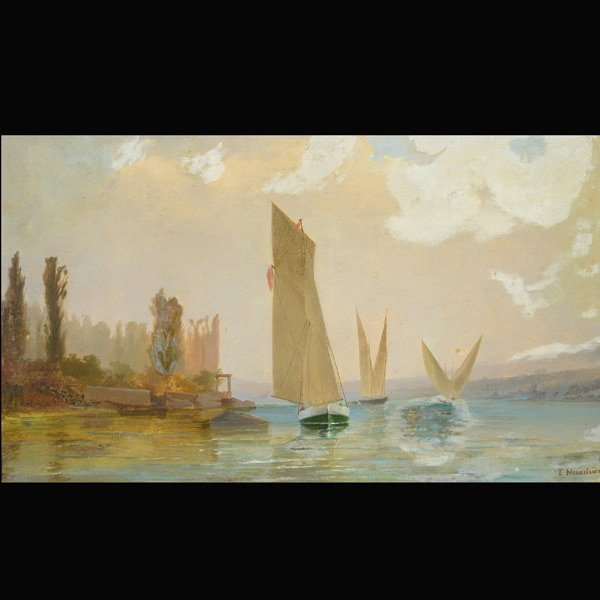 F. MENESTRIER Ships with Sails, oil on canvas