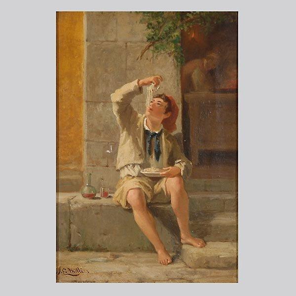 "After John E Millais ""Maccaroni Eater"" Oil"
