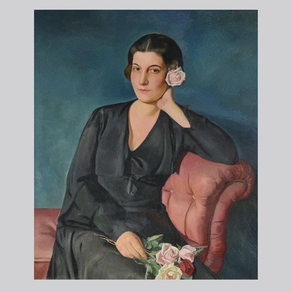 "BERNHARD DORRIES  ""Portrait of a Woman"" Oil"