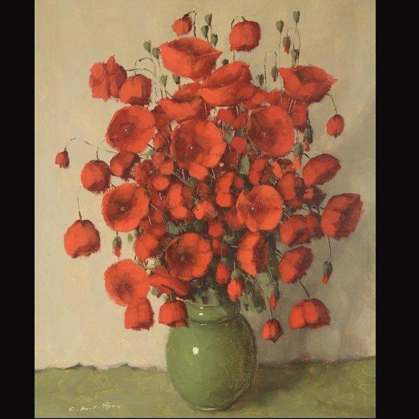 "Attributed to CHARLES VAN ROOSE ""Red Poppies"""
