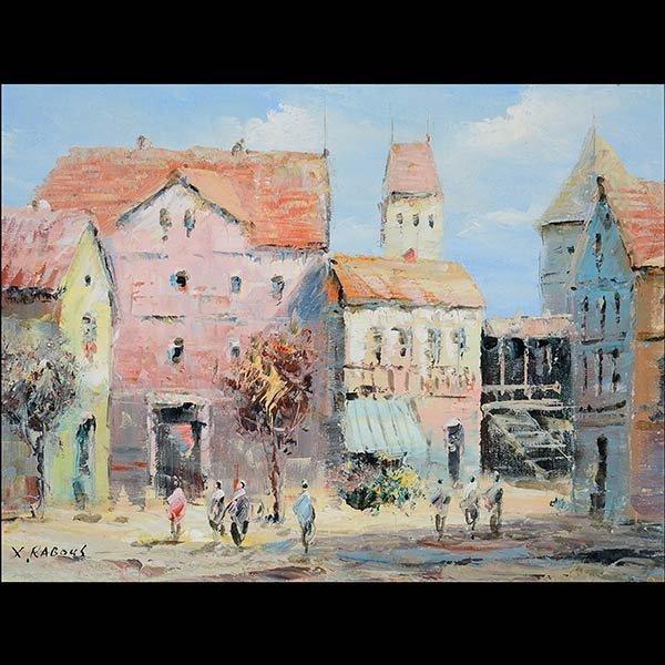 Painting, Mediterranean Village, X RABOUS