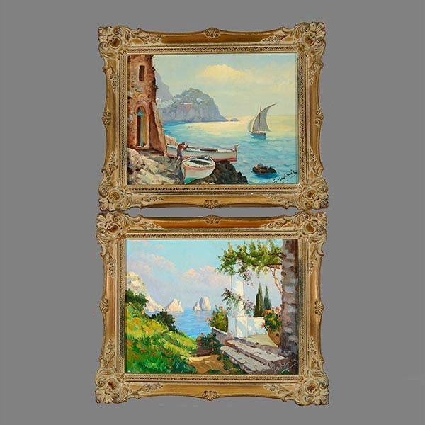 Pair of Mediterranean Seascapes by S FREDERICK