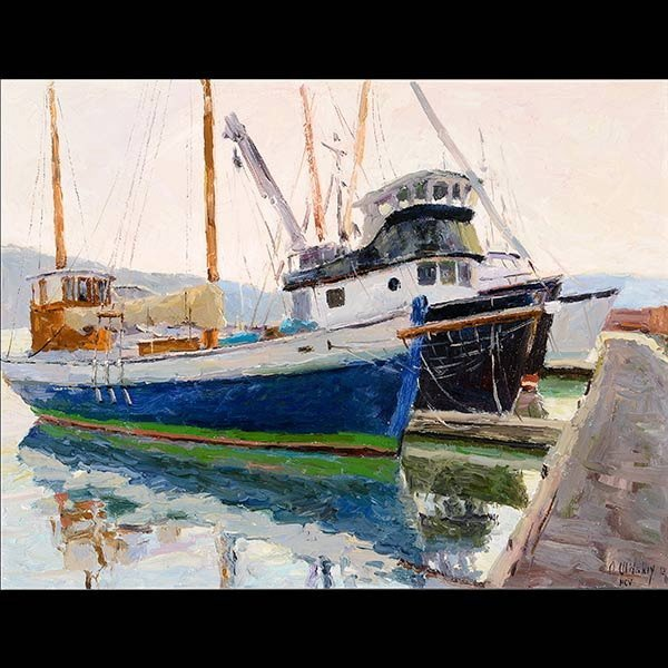 """Painting, """"Harbour at Sunset""""  Oil on Canvas"""