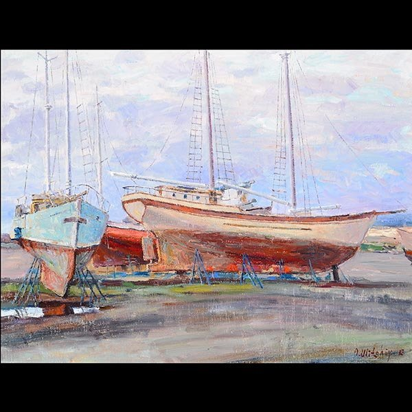 """Painting, """"Ships Repair Yard"""" Oil on Canvas"""