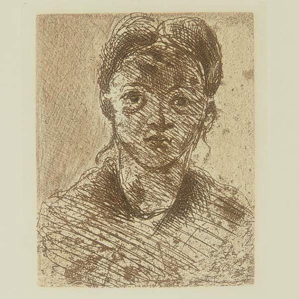 """After PAUL CEZANNE """"Tete de Femme, 1873"""" Etching"""