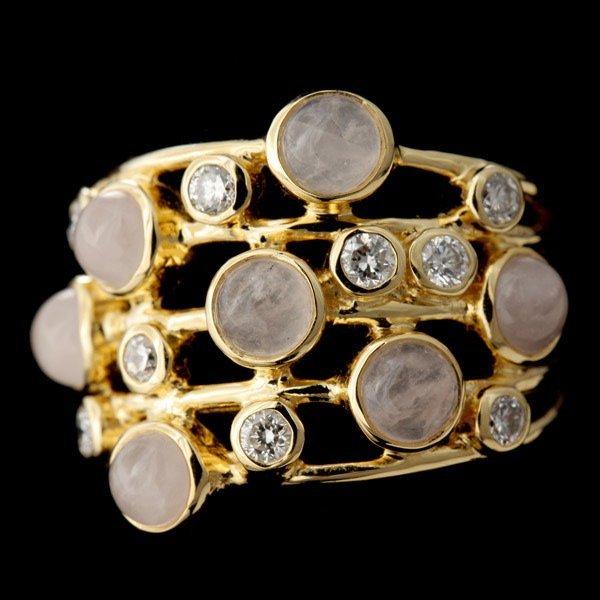IPPOLITA ROSE QUARTZ, DIAMOND, 18K GOLD RING.