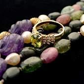 MULTISTONE BEAD DIAMOND 14K GOLD JEWELRY
